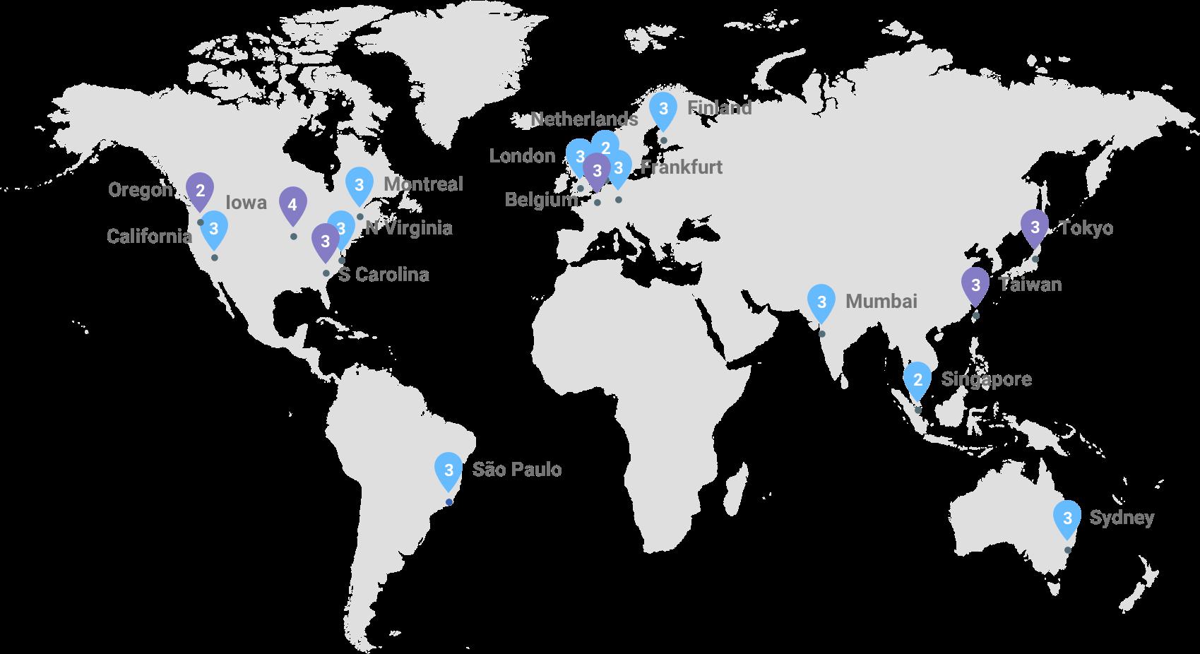 La carte des infrastructures de la plateforme Google Cloud: les régions actuelles sont affichées en mauve, les régions à venir, en bleu.