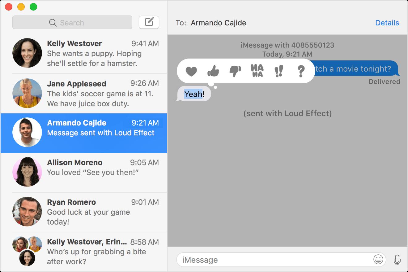 Les réponses Tapback dans iMessage.