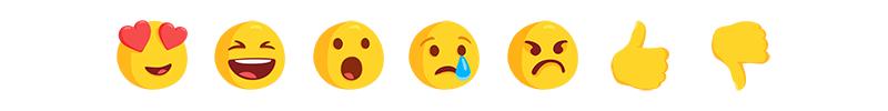 Le choix d'emoji proposé par Messenger dans le cadre de la mise à l'essai.