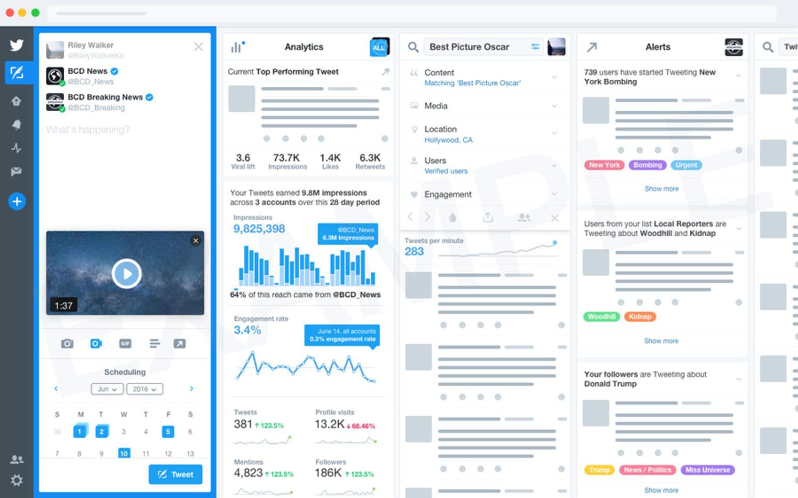 Un aperçu de la version premium de TweetDeck (Image: Twitter).
