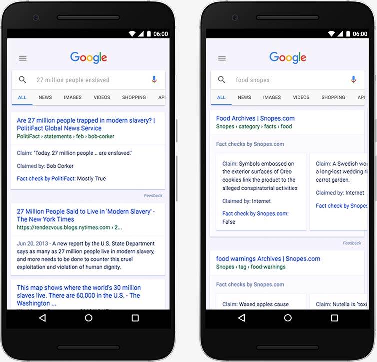 Un aperçu de la vérification des faits sur Google.