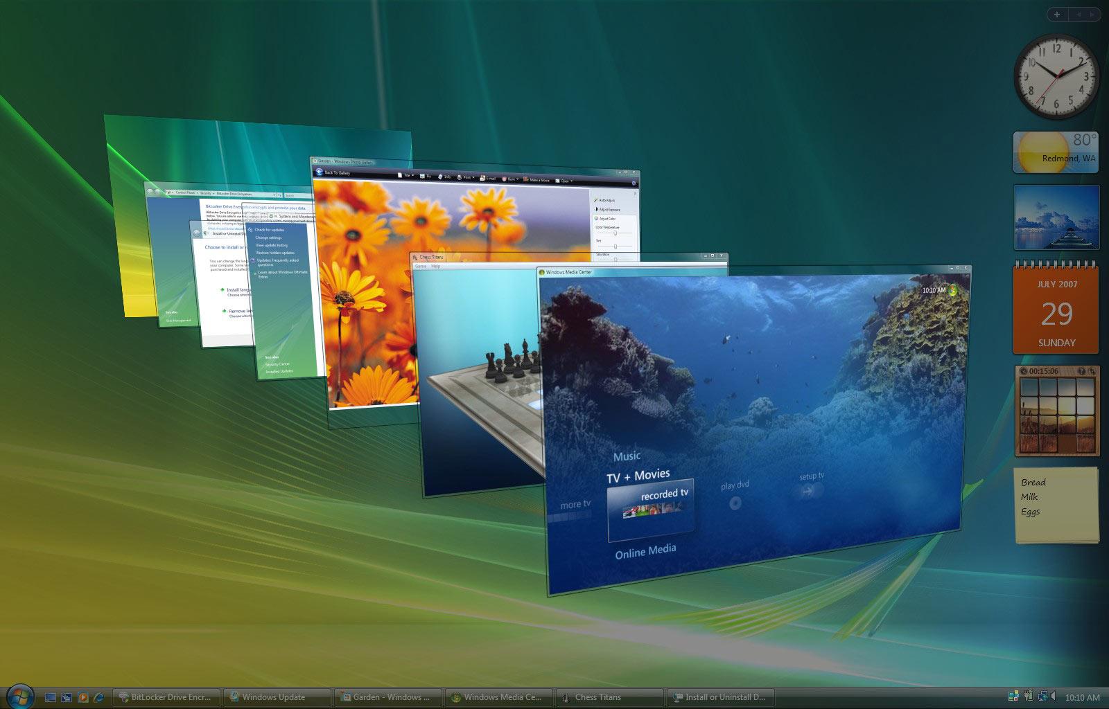 Aperçu de l'interface Aero et de ses effets 3D.