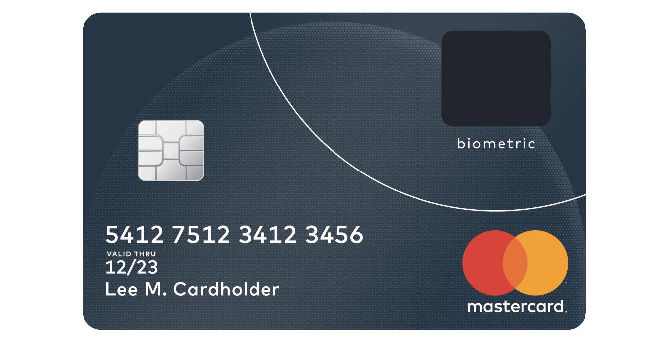 Un spécimen de carte MasterCard munie d'un lecteur d'empreinte digitale.
