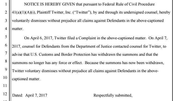 Extrait des documents relatifs au retrait de la plainte de Twitter.